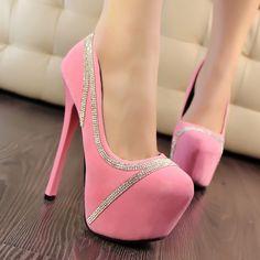 $35.79 Dresswe.com SUPPLIES Fashion Sweet Rhinestone High Heel Prom Shoes
