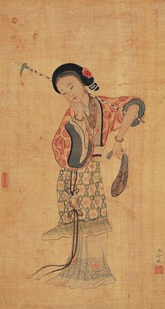 (China) by Leng Mei brush watercolor on silk. Chinese Artwork, Chinese Painting, Traditional Paintings, Traditional Art, Stone Age Art, Bonsai Art, China Art, Korean Art, Figure Painting