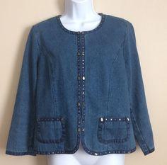 Belongings Womens Denim Blazer Jacket Embellished With Leaves Size Medium #Belongings #JeanJacket