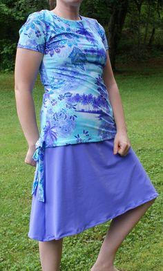 Custom Women's Modest Swimwear Separate Suit, Top Skirt, Leggings Swimsuit Swimming Island Print w/ Lavender