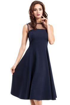 MOE271 sukienka granatowa