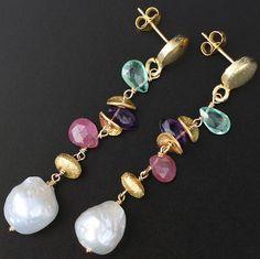 Gemstone Dangles Kasumi Pearl Earrings Pink Sapphire Earrings