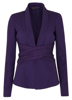 Donna Karan New Yorkpurple cady jacket Hook-fastening crossover jersey waist ties, concealed shoulder pads Hook fastenings through front Fabric1: 84% viscose, 11% nylon, 5% elastane; fabric2: 75% viscose, 20% wool, 5% elastane