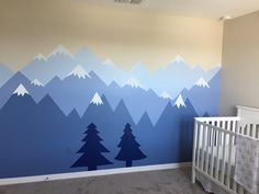 Jungenzimmer Berg Ideen - Finishing touches for the basement - Baby Bedroom, Baby Boy Rooms, Little Girl Rooms, Nursery Room, Kids Bedroom, Boy Room Paint, Mountain Mural, Kids Room Murals, Design Blog