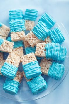 rice crispy treat with blue - Google Search I think this would be so cute! Set up near the pastries and cakes! Super simple and cheap to make little rice crispy squares. They can be dipped on one end with that glitter/dusting stuff that can be blue. Or maybe they can be wrapped and given as little favors?