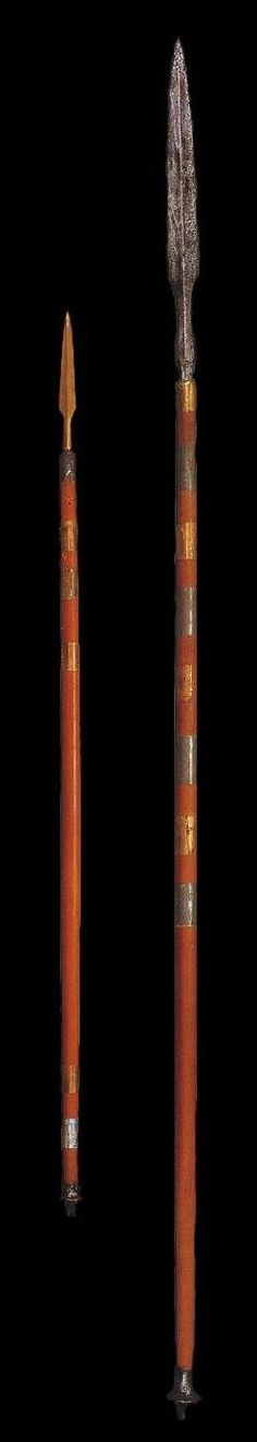 Royal spears, with bands of silver and gold. They were found beside the soldiers in the King's Grave. Royal Tombs of Ur Sumerian