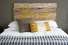 love the headboard. PLUS the yellow and grey.