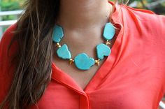 Turquoise & Spikes Necklace