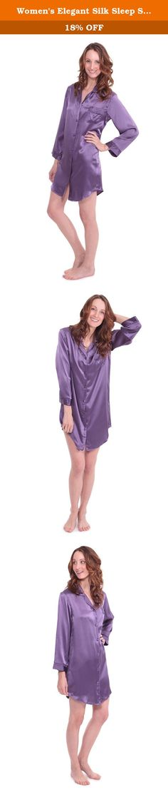 Women's Elegant Silk Sleep Shirt - Dream Fest (Grape, Large) Popular Christmas Gifts for Girlfriend Mom Daughter WS0478-GRP-L. This stylish women's sleep shirt in 100% pure silk provides the optimum blend of flair and comfort. Lace accent, French seams, elegant piping, 19 momme heavier silk fabric, matching covered buttons, and other quality features enhance the beauty and comfort of this garment. Makes a great gift for any occasion.