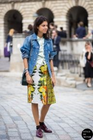 Leandra Medine of Man Repeller before Marios Schwab fashion show. Shop this look (or similar) here: Jacket: ASOS Denim Jacket With Raw Edge Skirt: ASOS Premium A-Line Skirt in Tapestry Print with Embellishment Shoes: F-Troupe Patent Burgundy Butterfly Lace Up Flat Shoes STYLE DU MONDE on Instagram