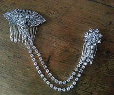 Bridal-Double-Draping-Hair-Comb-Diamante-Forehead-Side-Back-Boho-Vintage-Gatsby