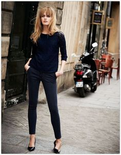 MUST.  Boat or thin turtleneck sweater w/skinny black pants/cigarette pants.  Love!  Do w/a classic 60's vibe.
