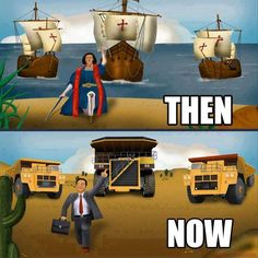 Christopher Columbus vs Corporate America then and now. Bernie Sanders, Dog Kennel Inside, Christopher Columbus, Socialism, Then And Now, Social Justice, Change The World, Colonial, Nativity