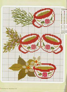 tea cups Cross Stitch Pillow, Cross Stitch Heart, Modern Cross Stitch Patterns, Cross Stitch Designs, Cross Stitching, Cross Stitch Embroidery, Creative Arts And Crafts, Cross Stitch Kitchen, Crochet Diagram