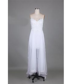 Wedding Dress Coulmn/Sheath Zipper-back Spaghetti Straps Sweep Train Formal Dresses, Wedding Dresses, Spaghetti Straps, Bridal Gowns, White Dress, Train, Zipper, Fashion, Lace Up