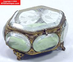 Victorian Ormolu Beveled Glass Jewelry Casket Box