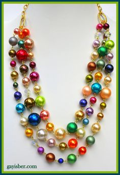 Rainbows and Unicorns multi colored glass based pearls hand linked with gold tone back chain Gay Isber one of a kind by sparklemeupbaby on Etsy