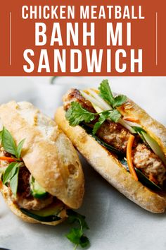 Get ready for this amazing Banh Mi sandwich recipe made with chicken meatballs and topped with pickled carrots, vegetables, & pears. A new twist on the authentic Vietnamese sandwich recipe! This recipe is easy to make- just make sure you have fish sauce and sriracha on hand! Delicious chicken meatball banh mi on top of fresh baguettes finished with our pickled carrots recipe and sriracha chile sauce. It's the way better version of a banh mi burger! Visit USAPears.org for more incredible… Pear Dessert Recipes, Pear Recipes, Turkey Recipes, Holiday Recipes, Pickled Pears, Pickled Carrots, Mini Meatballs, Chicken Meatballs, Banh Mi Sandwich
