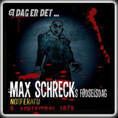 I dag er det 136 år siden, Max Schreck blev født.  Den tyske skuespiller Max Schreck spillede hovedrollen som vampyren Graf Orlok i F. W. Murnaus Nosferatu fra 1922.  Følg linket for at læse mere om Max Schreck  http://www.mxrket.dk/sep06-maxschreck.html