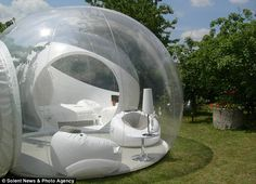 The transparent and inflatable bubble tent has been designed to give campers a panoramic view of the countryside. France