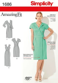 "misses' and miss petite amazing fit mock wrap dress in two lengths has back zipper, inset waist band, lapels and sleeve variations. separate pattern pieces included for a,b,c,d cup sizes and slim, average and  curvy fit. american sewing guild.<br><br><img src=""skins/skin_1/images/icon-printer.gif"" alt=""printable pattern"" /><a href=""#"" onclick=""toggle_visibility('foo');"">printable pattern terms of sale</a><div id=""foo"" style=""display:none; margin-top: 50px;"">digital patterns are tiled and…"