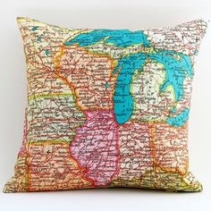 Vintage MIDWEST  MI Map Pillow Made to Order 12 x 12 by saltlabs