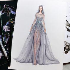 Eris Tran: Watercolor Illustration of Elie Saab, Haute Couture, Spring/Summer 2017