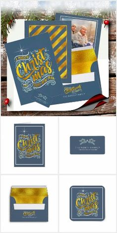 These beautiful Christmas pieces feature gold foil typography of 'A Magical Christmas and Happy New Year'; decorations of mistletoe and berries; a shining star accent and/or coordinated gold, diagonal stripes. Many of the products here include a convenient template to add your name or other text. We've chosen a dark blue background as an example, but most items below allow any color. There's more to see! Search ID441 to see additional coordinating products and color options for this design. Magical Christmas, Beautiful Christmas, Christmas Typography, Dark Blue Background, Wow Factor, Shining Star, Mistletoe, Gold Foil, Happy New Year