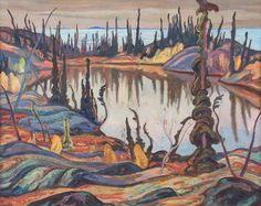"""""""Northern Landscape - Great Bear Lake,"""" A. Jackson, oil on canvas, The Sobey Art Foundation. Group Of Seven Artists, Group Of Seven Paintings, Canadian Painters, Canadian Artists, Emily Carr Paintings, Tom Thomson, Nature Sketch, Art Institute Of Chicago, Light Painting"""