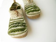Crochet House Shoes with Leather Sole in cream  all by leninka, $89.00