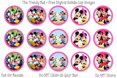Mickey & Minnie <3 Retired images uploaded as freebies! Enjoy! ~ FREE Digital Bottle Cap Images!! https://www.facebook.com/thetrendyowlUS http://www.thetrendyowl.com