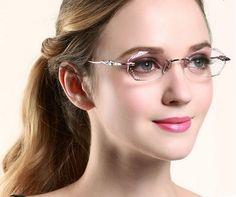 #eyeglasses# Diamond-trimmed glasses for women #fashionable# www.glasseslit.com Cute Glasses, Girls With Glasses, Glasses Frames, Hijab Gown, Fashion Eye Glasses, Designer Eyeglasses, Eyeglasses For Women, Optical Frames, Womens Glasses