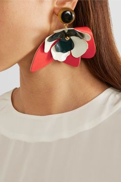 Marni | Leather, steel and horn clip earrings | NET-A-PORTER.COM