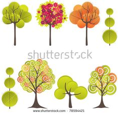 Abstract background with green tree. Vector illustration