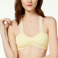 NWT Free People Crochet Racerback bralette NWT Free People size XS/S. Super comfy racerback bral in the color called Lemon Juice. This has never been worn and is  excellent shape. Nylon/spandex, Lining is also nylon/Spandex. Machine washable.  Sweetheart neckline, Wide straps/Racerback,  Shredded latticed at back. Crotchet trim. No trades. Free People Intimates & Sleepwear Bras