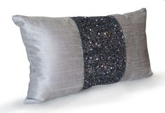 Grey beaded Lumbar Pillows -Grey Silk Metallic Pillow cover -Sparkle Pillow -Gray Beads Embroidered Pillow -Multiple Sizes -Gift -Wedding