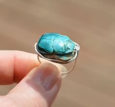 Egyptian Faience Scarab Beetle Silver Ring. Thin Fine by HKart1, Free Shippin, Now! https://www.etsy.com/il-en/listing/232416816/egyptian-faience-scarab-beetle-silver?ref=shop_home_active_6