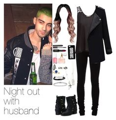 """""""Night out with Zayn"""" by myllenna-malik ❤ liked on Polyvore featuring Ann Demeulemeester, Topshop, Essie, H&M, Laura Mercier, Guerlain, Lucky Brand, Domo Beads, Allurez and zaynmalik"""