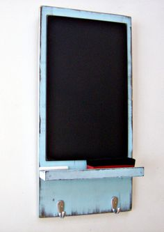 Chalkboard with Key Hooks - TURQUOISE - Shabby Chic, Kitchen or Hallway Decor, Country Cottage Chic