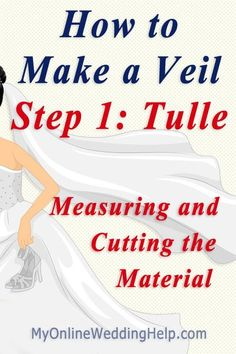 How to make a wedding veil step-by-step.measure and cut the material / tulle. Shows how to figure out where the veil will fall to on your body. Veil Diy, Diy Wedding Veil, Wedding Garters, Wedding Crafts, Wedding Bouquets, Wedding Gowns, Wedding Planning Notebook, Wedding Planning On A Budget, Bridal Veils And Headpieces