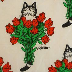 vintage fabric fat quarter kliban cat with red by sosovintage, $2.50