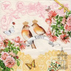 Decoupage Paper Napkins Love Birds (1x Napkin) - ideal for Decoupage, Collage, Mixed Media, Crafts