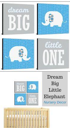 Nursery wall decor, dream big little one, elephant nursery decor, kids and baby wall art, nursery decor #Affiliate