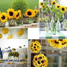 yellow wedding photo with sunflowers