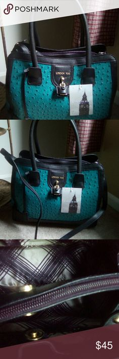 London Fog Handbag NWT  Beautiful bag , shoulder or sachel bag . Large in size ,holds a lot . Color is black & teal London Fog Bags Shoulder Bags