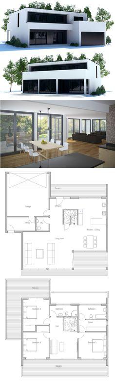 Architecture House Plan, Home Plans, Arquitetura, Planta de Casa, Planos de Casa Contemporary House Plans, Modern House Plans, Small House Plans, Modern House Design, Dream House Plans, House Floor Plans, Modern Mansion, House Blueprints, Sims House