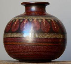 Vintage KMK Kupfermühle Ceramic Vase West German Pottery Art Fat Lava Era Craft