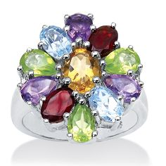 Plus Size 5.49 TCW Pear and Oval-Cut Genuine Multi-Gemstone Sterling Silver Ring image