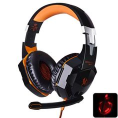 EACH G2000 USB and Audio Jack Dual Input Gaming Headset Stereo Headphone Sound Headset Stretchable Band 2.2m Nylon - coated Cable for PC Game  -  ORANGE
