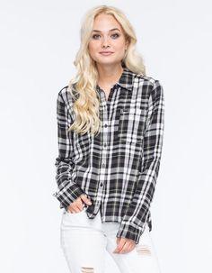 Hurley Wilson Womens Flannel Shirt Black/White  In Sizes